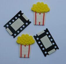 12 edible MOVIE FILM PIECES & POPCORN cake CUPCAKE TOPPER decoration movie TV