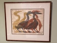 Mid Century 1960 Woodblock Goose Signed Modern Walnut Eames Colors Framed Print