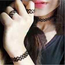 Gothic Cool Stretch Tattoo Choker Necklace+Bracelet+Ring Black Elastic Boho FT