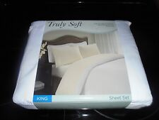 TRULY SOFT WHITE 4 PIECE KING SIZE SHEET SET!!!! NEW FREE SHIPPING!!!!!