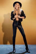 Leggings pantalone nero effetto pelle con cerniera anteriore ROSSOPORPORA Luxury