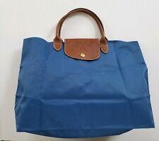 Longchamp Paris  Le Pliage Cabas Large Blue Nylon Leather Ladies Tote Bag