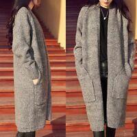Stylish Women's Long Coat Jacket Windbreaker Outwear Warm Wool Slim Trench Parka
