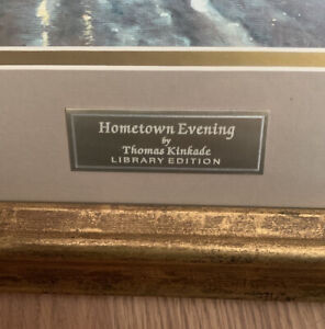 "Thomas Kinkade Lithograph, Library Edition, Hometown Evening, 19""x23"" Framed"