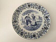 """Vintage Boch Belgium Blue Delft  Couple Dancing Plate, 8 1/2"""" Diameter"""