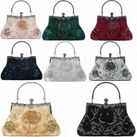 Beaded Clutches Women's Purse Wallets Evening Handbags Floral Pattern Party Bags