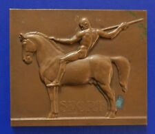 1926 NUDE WARRIOR w. SPEAR ON HORSE / EQUESTRIAN BRONZ PLAQUE SIGN. K.PERL