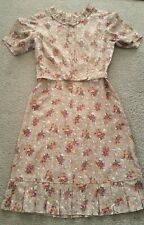 Genuine vintage gorgeous tailored silk dress with matching belt size 12