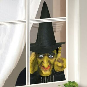 Motion Activated Tapping Wicked Witch Halloween Window Peeper Figure Decoration