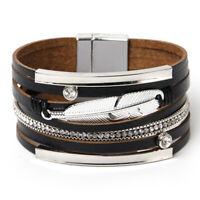Bracelet en Cuir de BohèMe Bracelet à Larges Bords en Plumes TisséEs par le F5Z2