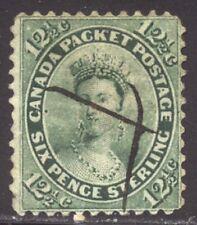 Canada #18 Used - 1859 12 1/2c Yellow Green ($130)