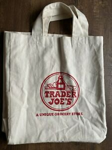 """Vintage Trader Joe's """"A Unique Grocery Store"""" Shopping Canvas Tote Bag RARE"""