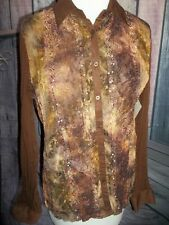 """CLAUDIA RICHARD"" DESIGNER Sheer Blouse, Large, Brown/Gold, Lace, Sequins"