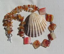 "Orange Carnelian & Red Sardonyx Crystal Gemstone Statement Necklace ""Savanna"""