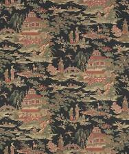 Wallpaper Designer Van Luit Green Rust Beige Brown Tan Asian Toile on Black