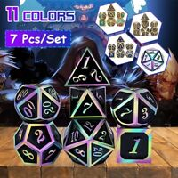 7Pcs/Set Rainbows Edge Metal Dice Set Role Playing Dragons Dice Party Table Game