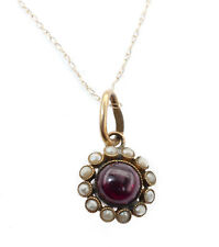 Gold Pendant with 14k Gold Chain Antique 1800s Victorian Garnet Seed Pearls 14k