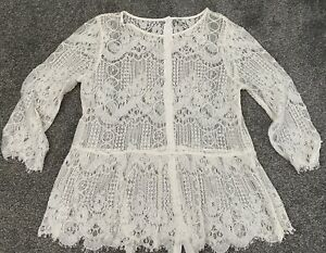 Stunning RIVER ISLAND Ivory Cream LACE Pearl Beaded Blouse Top Size 14