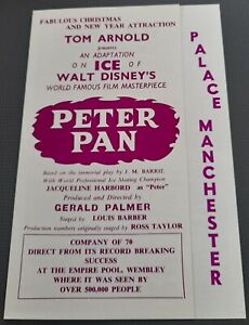 1963 Palace Theatre Manchester Flyer Peter Pan On Ice J.M. Barrie Walt Disney