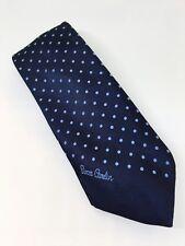 """Vintage 1970's Pierre Cardin Paris Blue Dot Tie. 3-1/2"""" Wide. Excellent."""