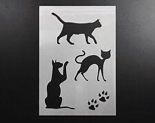 Cats Set Stencil Airbrush Wall Art Craft Animal Kitty Home Decor DIY Reusable