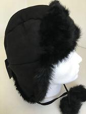 "Paul Smith Trapper Hat 100% SHEEPSKIN ""MAINLINE"" SIZE M Black Tie up Ear Flaps"