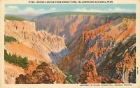 Linen Postcard WY AH C329 Yellowstone Park Wyoming Grand Canyon from Grand View