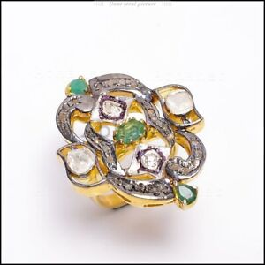 Gold Plated Beautiful Ring Emerald, Polki Pave Diamond  925 Sterling Silver