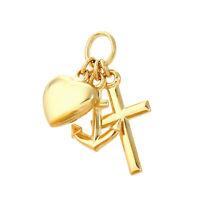 Glaube Liebe Hoffnung 585 14 Karat Gelbgold 14mm kleine Kettenanhänger 9097