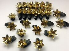 Lot of 24 Vintage Gold Pine Cone Clip On Candle Holder Ornaments W Germany