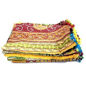 Vintage Kantha Quilt Indian Bedding Baby Quilt Bedspread Coverlet Quilt Kantha =