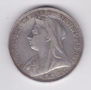 ROYAL MINT GB QUEEN VICTORIA 1897 SILVER CROWN GOOD CONDITION
