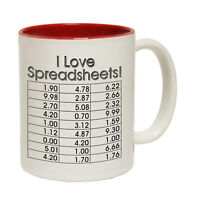 Funny Mugs I Love Spreadsheets Geek Geeky Nerd Nerdy Humour Gamer NOVELTY MUG