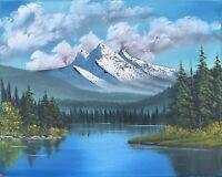 Original Landscape Oil Painting Art Decor 16x20 Canvas Bob Ross Style