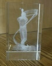 3D Laser Etched Crystal Glass Cube Male Golfer Paperweight