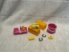Barbie ~ Horse Play set Accessories Horse Brush Sponge Bucket Curry Comb ~ Lot