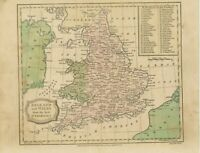 MAP ENGLAND & WALES 1820 superb 200 years old handcoloured map 20cm x 25,5cm