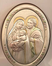 Nativity Oval Plaque Wall or Desk Raised Figures in Pastels  5 x 7  Golden Halos