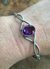 Vintage, Solid Sterling Silver & Natural Purple Amethyst Bracelet.