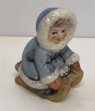 German Goebel Hummel Figurine Figure Wintertime Little Girl In Blue On Sled
