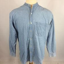 Vintage 80's 90s Gitano Denim Jean Mandarin Collar Blank Grunge Skate Surf Shirt