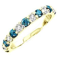 14K Ladies Blue/White Diamond Wedding Band Ring 1 Ct