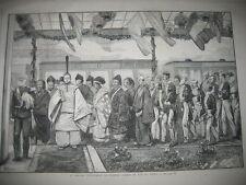 Gravure 1873  Le Mikado inaugurant le 1er chemin de fer
