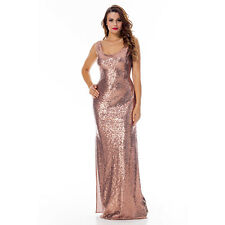 Sequin Long Formal Dresses Evening Gown Prom Ball Gala Split Maxi Cocktail Dress