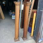 "stunning pair c1880 hand carved oak columns fireplace? 57.5/9.25/8"" Quartersawn"