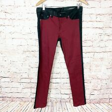 Rag & Bone Jekyll Leather Trim Red Pants Womens Size 29