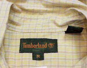 Vintage 90s Mens Timberland Checked Yellow Hipster Shirt Size Medium Retro