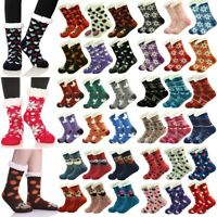 Womens Thick Cozy Fuzzy Sherpa Fleece-lined Thermal Non-Skid Slipper Socks Lot
