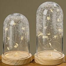 Glasglocke mit LED-Beleuchtung Sterne 22cm