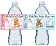 20 TEDDY BEAR BABY SHOWER FAVORS WATER BOTTLE LABELS GLOSSY
